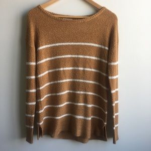 Sweaters - Tan and White striped Sweater